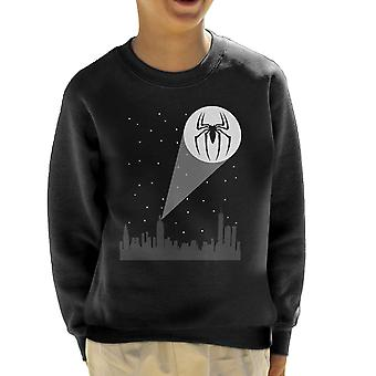 Spiderman Batsignal Cityscape Kid's Sweatshirt