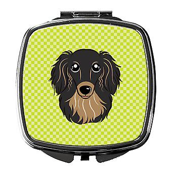 Checkerboard Lime Green Longhair Black and Tan Dachshund Compact Mirror