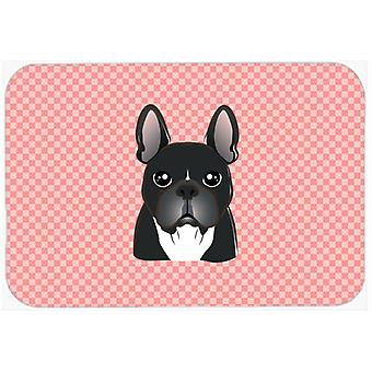 Checkerboard Pink French Bulldog Mouse Pad, Hot Pad or Trivet