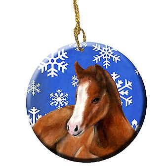 Horse Foal Winter Snowflakes Holiday Ceramic Ornament