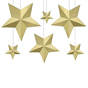 Gold Hanging Paper Star DIY Decorations Wedding Christmas Party x 6
