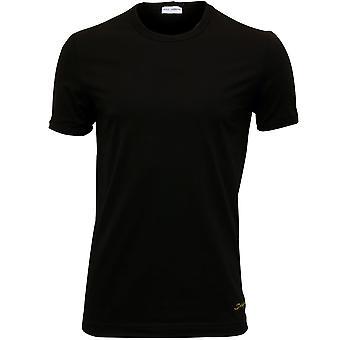 Dolce & Gabbana Mako Cotton Italic Logo Crew-Neck T-Shirt, Black/yellow