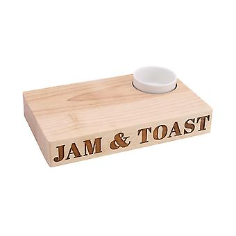 CGB Giftware Loft Jam And Toast Wooden Platter With Ceramic Dish
