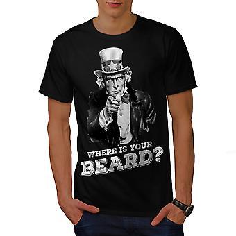 Skæg sjove Onkel Sam mænd BlackT-shirt | Wellcoda