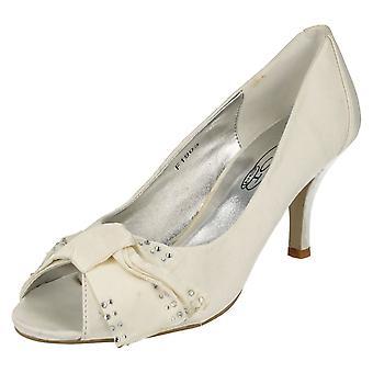 Ladies Spot On Open Toe Court Shoe With Diamante Bow Detail