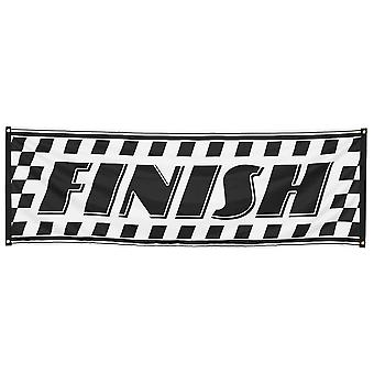 Racing Black & White Chequed Finish Banner/ Flag 220x74cm