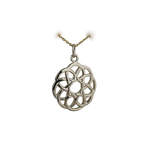 9ct Gold 22mm round Celtic knot design Pendant with a cable Chain 16 inches Only Suitable for Children