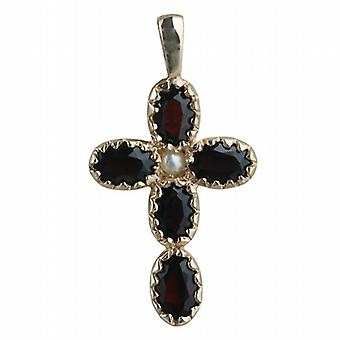 9ct Gold 25x16mm Cross set with 5 Garnets and 1 Pearl