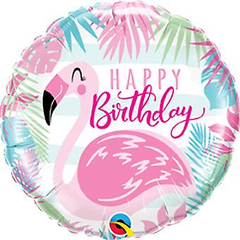 Qualatex 18 Inch Round Foil Birthday Pink Flamingo Balloon