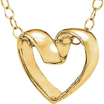 14k Yellow Gold Child Ribbon Heart Pendant 15 In Chain 9x9.5mm  - .9 Grams