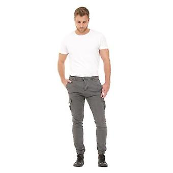Men's Cargo Trousers - Grey Slim Fit  Elasticated at ankle