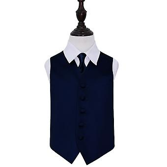 Navy Blue Plain Satin Wedding Waistcoat & Tie Set for Boys