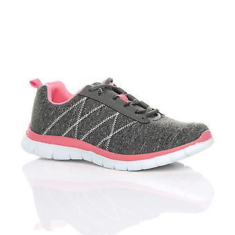 Ajvani para mujer ate para arriba el confort memoria espuma gimnasio zapatillas zapatillas de deporte Bamba piel sport