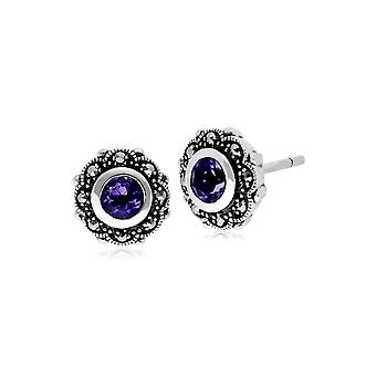 Gemondo Sterling Silver Amethyst & Marcasite Art Nouveau Floral Stud Earrings