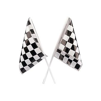 12 Plastic Chequered Racing Flag for Party Bags