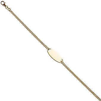 Shield band 925 sterling silver gold plated 19 cm engraved ID Bracelet carabiner