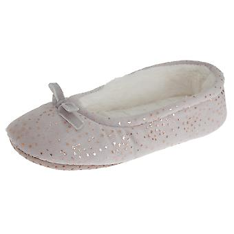 SlumberzzZ Womens/Ladies Faux Fur Lined Star And Bow Tie Slippers