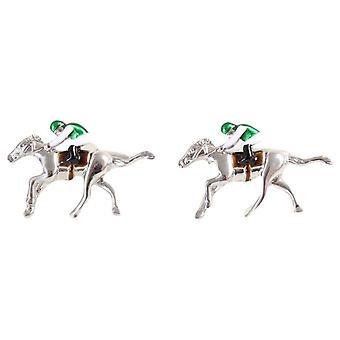 David Van Hagen Horse Racing Cufflinks - Silver/Green