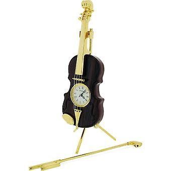Gift Time Products Violin Miniature Clock - Gold/Brown