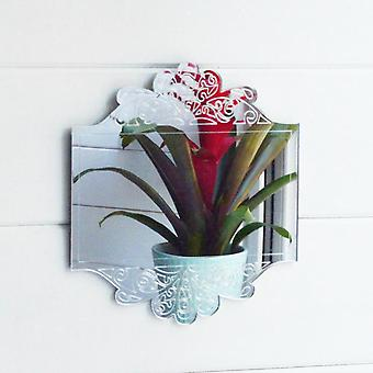 Antique Floral Rectangle Frame Engraved Acrylic Mirror