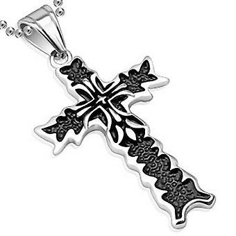 Dobbelt Kors flamme vedhæng to Tone Black, rustfrit stål smykker med kæde