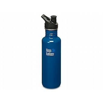Klean Kanteen Classic 800ml Water Bottle with Sport Cap (Blue Planet)