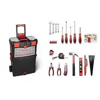 WOLFGANG 40 Pièces Premium Tool Trolley Filled, Trolley Complete, Universal Toolbox Filled with Tool, Workshop, Wrench Set, Screwdriver, Hammer, Pliers etc.