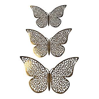 12pcs 3D papillons en métal, mur décoration-or laine