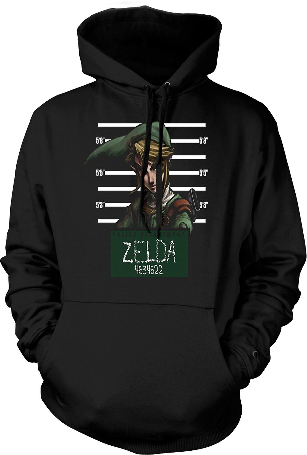 Mens Hoodie - Zelda - Mug Shot - Funny