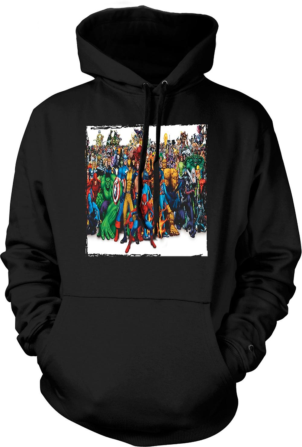 Mens Hoodie - Marvel Comic Groupe Hero - Portait