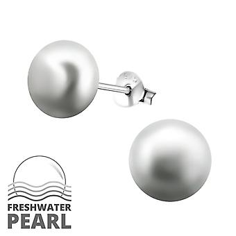 Round - 925 Sterling Silver Pearl Ear Studs - W6789X
