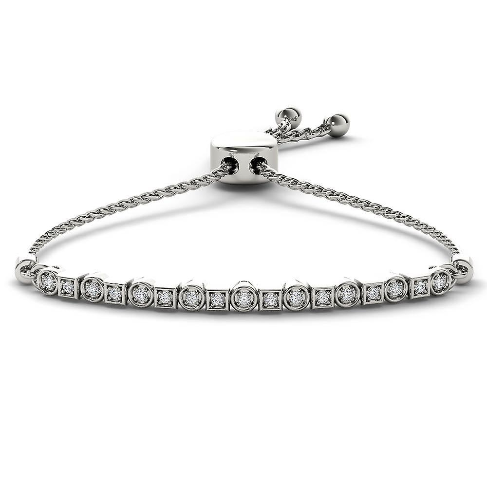 IGI Certified 925 Solid Sterling argent 0.12Ct Round Cut Diamond Bolo Bracelet