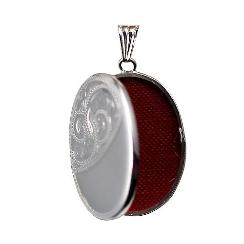 Silver 35x26mm half hand engraved flat oval Locket