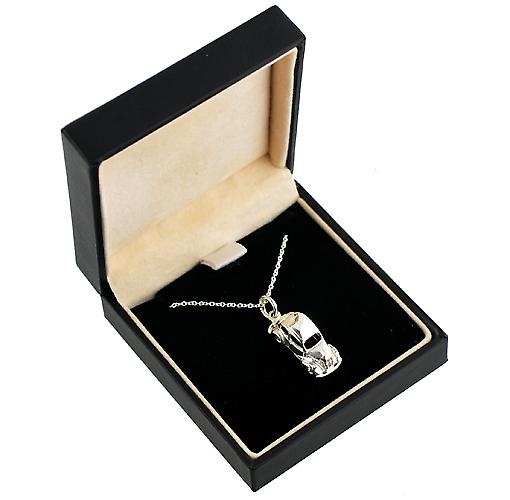 Silver 20x8mm Vintage Car Pendant with a rolo Chain 20 inches