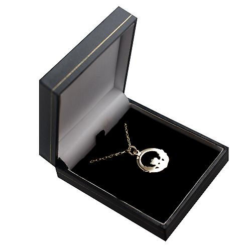 9ct Gold 20mm Claddagh Pendant with a belcher chain