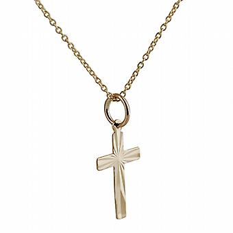 9ct Gold 16x10mm diamond cut sunray flat latin Cross with a curb Chain 20 inches