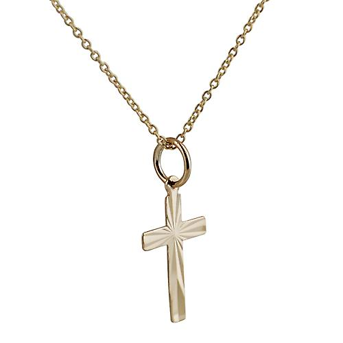9ct Gold 16x10mm flat diamond cut sunray Cross with Curb chain