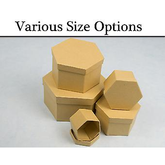 Paper Mache Hexagon High Stacking Boxes with Lids to Decorate