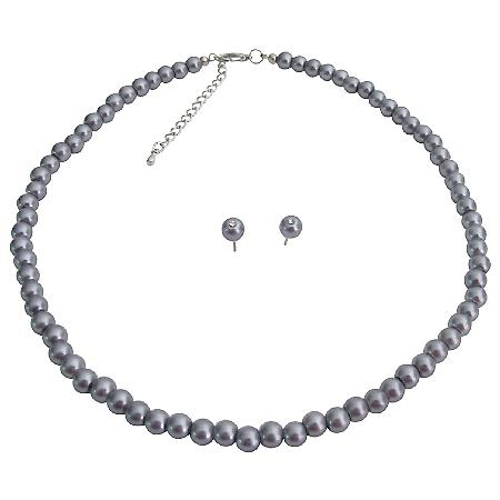 Wedding Jewelry Stunning Dark Gray Pearl Necklace Stud Earrings