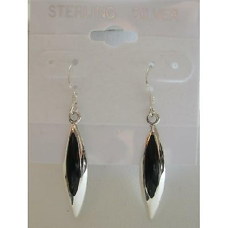 Inlaid Black Onyx Sterling Silver Beautiful & Stylish Earrings