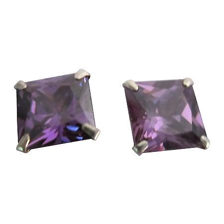 Prince Cut 8mm Tanzanite Cz Sterling Silver Post Stud Earrings Jewelry