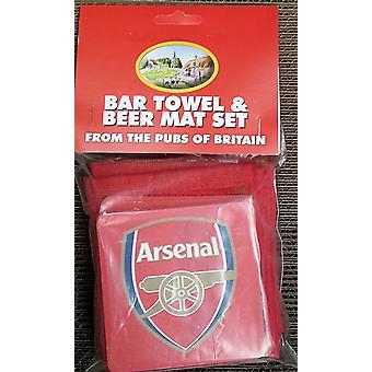 Arsenal bomull Bar håndkle og 10 Beermats (pp)