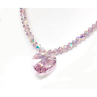 Kleshna Lilac Rhinestone Heart Necklace, 16 Inch Chain with Magnetic Closure