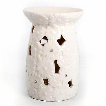 Ceramic Oil Burner 15cm X 10cm Filagree Daisy Flower Design With Fragrance Oil