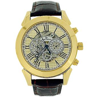 Rene Valente Gents Automatic Skeleton Dial Black Leather Strap Watch RNV64C