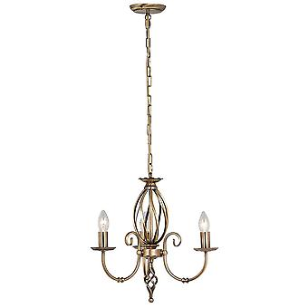 Elstead-Chandelier 3 Light Aged Brass Finish-ART3 AGD BRASS