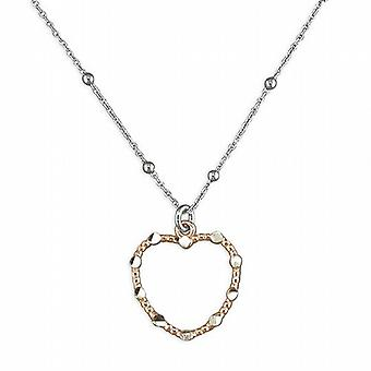 TOC Sterling Silver Rose Gold Plated Open Heart Pendant on 16 Inch Fancy Chain