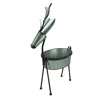 Arte Metal rústico ciervo Jardinera interior y exterior de pie