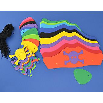 100 Mixed Colour Card Kids Pirate Hats & Patches Kit   Skull & Crossbones Crafts