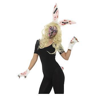 Donne zombie coniglio Halloween Fancy Dress Kit con fascia, Guanti e coda